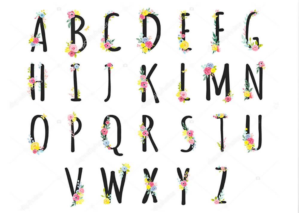 Постер Английский алфавит с цветами  - фото