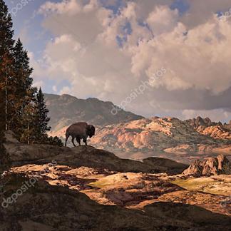 Бизон на фоне горного пейзажа