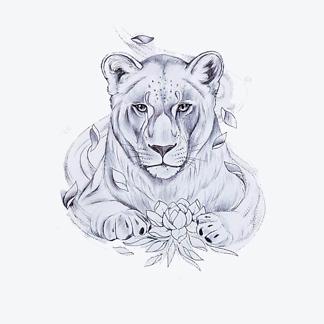 Черно-белый рисунок львицы