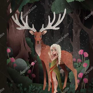 Постер Cказка девочка и олень на черном фоне