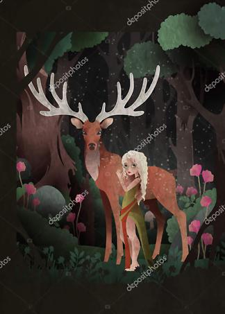Постер Cказка девочка и олень на черном фоне  - фото
