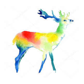 Постер Цветной акварельный олень