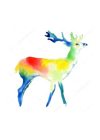 Постер Цветной акварельный олень  - фото