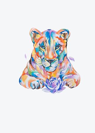 Постер Цветной рисунок львицы  - фото
