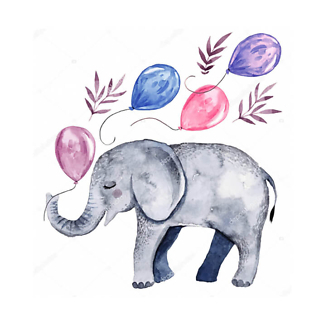 Детеныш слона с шариками