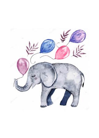Постер Детеныш слона с шариками  - фото
