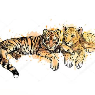 Постер Детеныши тигра и льва