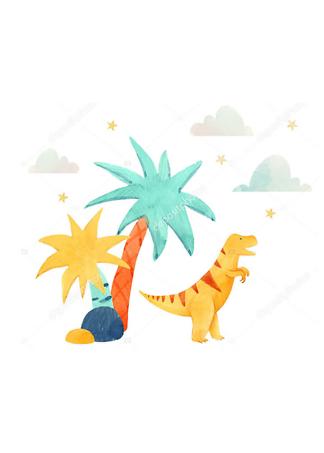 Постер Дино под пальмой  - фото