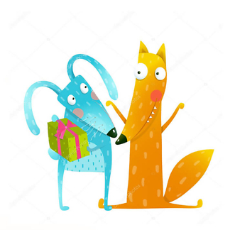 Постер Друзья заяц и лиса