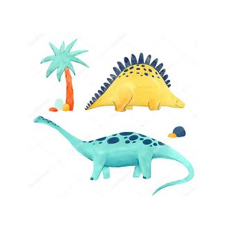 Постер Два акварельных динозавра