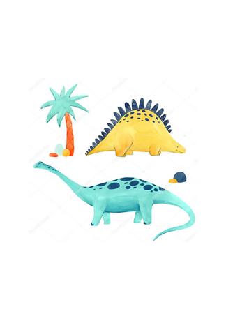 Постер Два акварельных динозавра  - фото