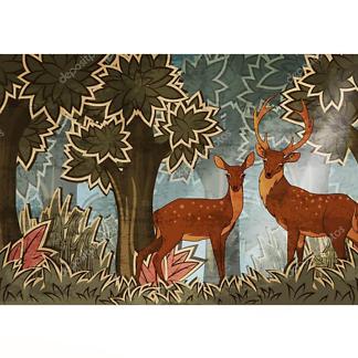 Постер дикие олени в лесу