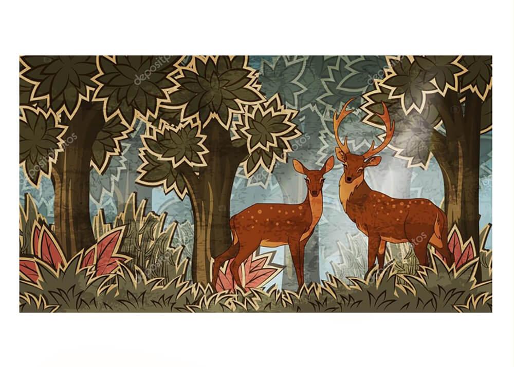 Постер дикие олени в лесу  - фото