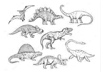 Постер Эскизы динозавров  - фото