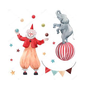 Постер Клоун и слон в цирке