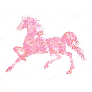 Постер Конь в цветочном паттерне