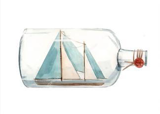Картина Корабль в бутылке  - фото
