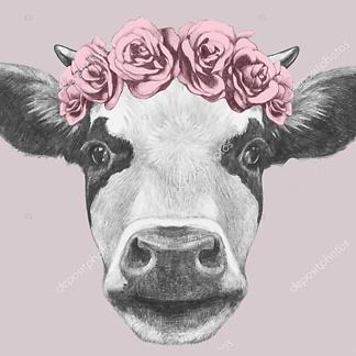 Постер Корова с цветочным венком