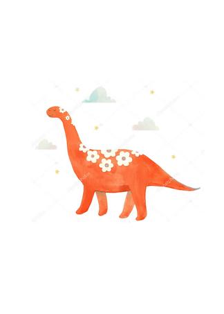 Постер Красный динозавр  - фото