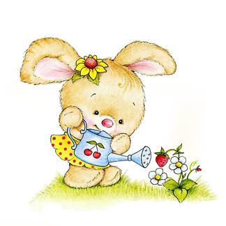 Постер Кролик с лейкой