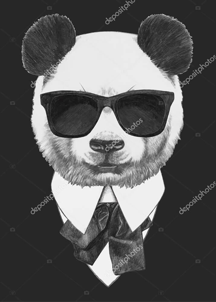 Постер Панда в черных очках  - фото