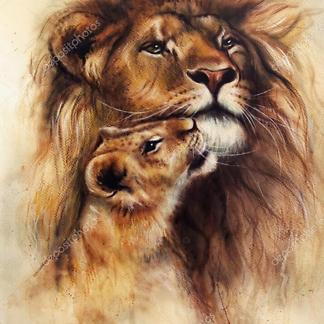 Лев с детенышем