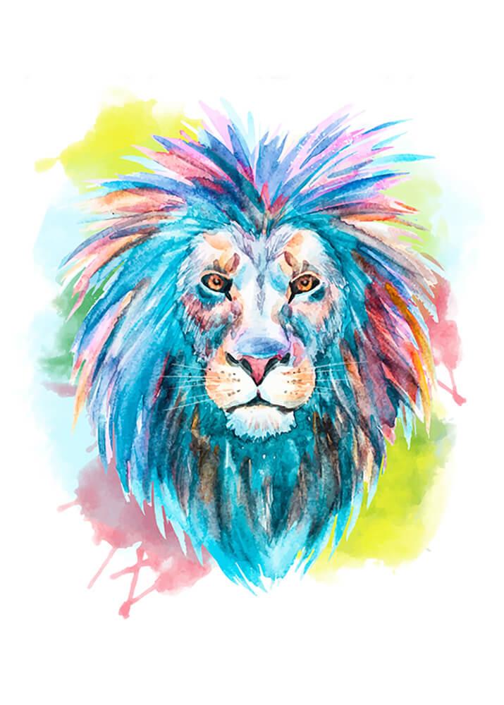 Постер Лев яркий  - фото