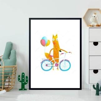 Постер Лис с велосипедом  - фото 2