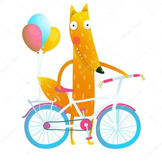 Лис с велосипедом