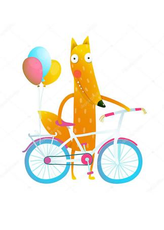 Постер Лис с велосипедом  - фото