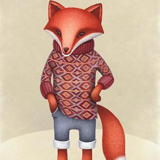 Постер Лис в свитере