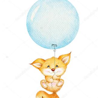 Лиса летит на голубом шаре
