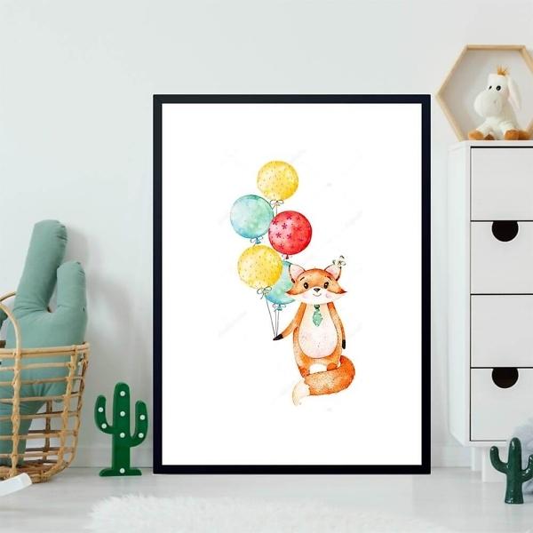 Постер Лиса с воздушными шариками  - фото 2