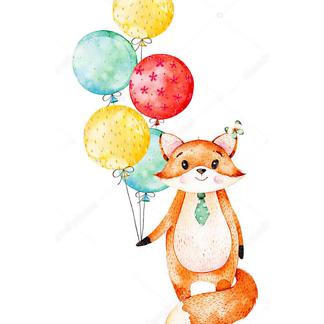 Постер Лиса с воздушными шариками