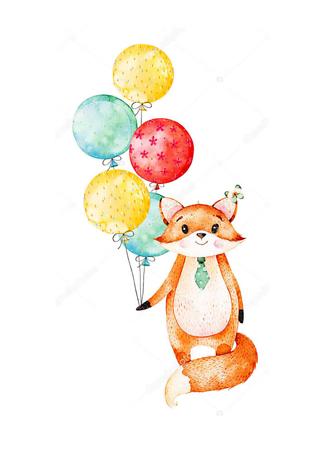 Постер Лиса с воздушными шариками  - фото