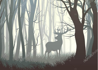 Постер Лось в лесу  - фото