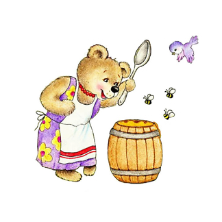 Мама медведь и бочка меда