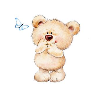 Постер Медведь и бабочка