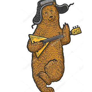 Постер Медведь с балалайкой в цвете