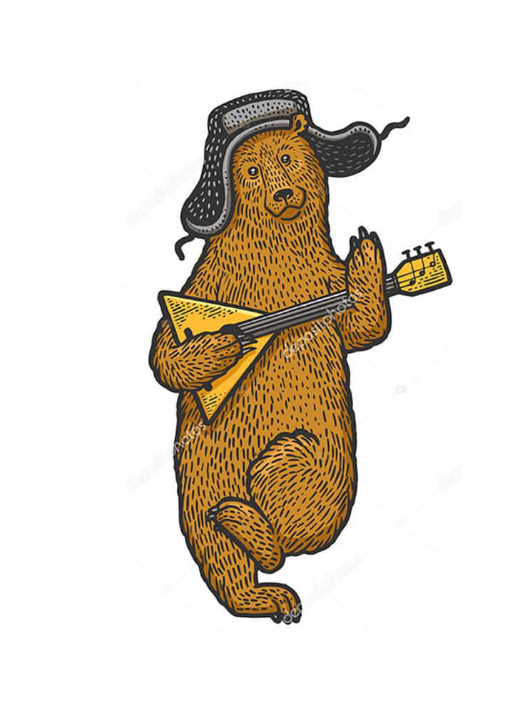 Постер Медведь с балалайкой в цвете  - фото