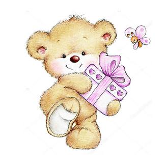 Постер Медведь с подарком