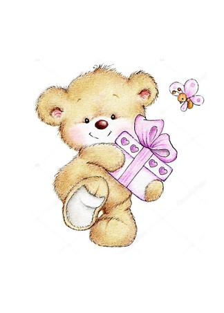 Постер Медведь с подарком  - фото