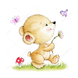 Постер Медвежонок с цветами и птицей