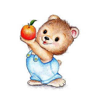Постер Медвежонок с яблоком