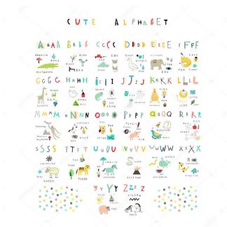 Постер Неоновый английский алфавит