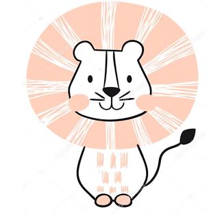 Милый детский рисунок льва