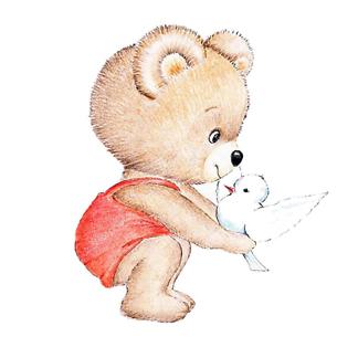 Постер Мишка Тедди с голубем