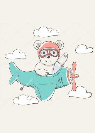 Постер Мишка на самолете  - фото