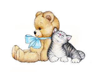 Постер Мишка с котенком  - фото