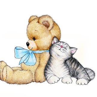 Постер Мишка с котенком
